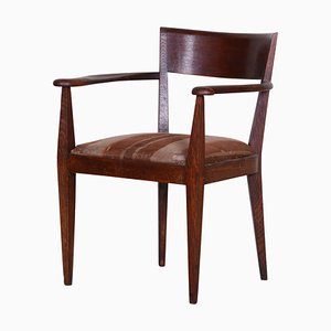 Art Deco Cubist Brown Oak Armchair, 1920s