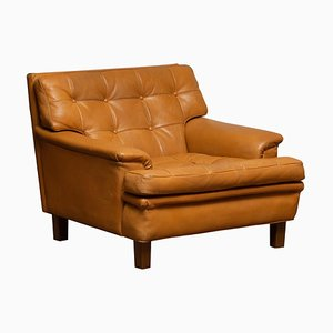 Camel Quilted Buffalo Leather Merkur Chair by Arne Norell, Sweden, 1960s