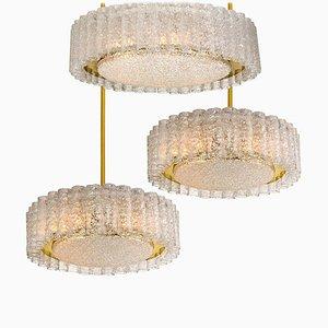Glass and Brass Light Fixtures from Doria Leuchten, Germany, 1960s, Set of 3