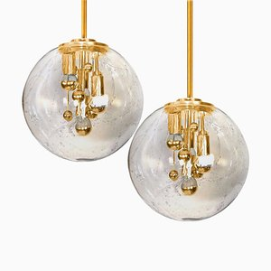 Space Age Brass and Blown Glass Lights from Doria Leuchten, Germany, 1970s, Set of 2