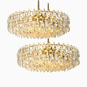 Brass and Crystal Glass Chandeliers from Bakalowits & Söhne, Austria, 1960s, Set of 2