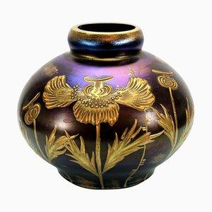 Rubinrote Emaillierte Glasvase von Loetz Glas, 1903