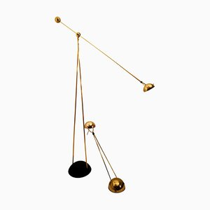 Gold-Plated Halogen Floor and Table Lamp by Paolo Piva for Stephano Cevoli, Italy, 1980s, Set of 2