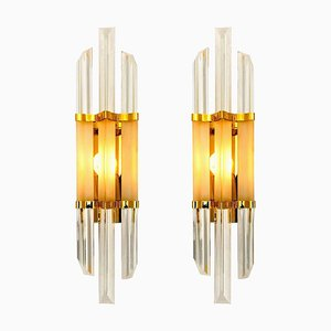 Murano Glass & Brass Sconces in the Style of Venini, 1970s, Set of 2