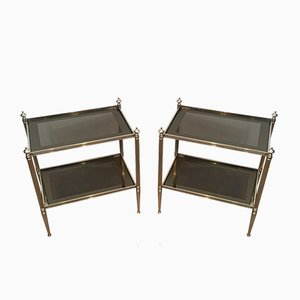 French Neoclassical Style Silvered Side Tables with Bronze Glass Shelves Attributed to Maison Jansen, 1960s, Set of 2
