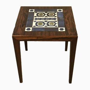 Rosewood Side Table with Baca Tiles by Severin Hansen for Haslev Møbelsnedkeri, 1960s