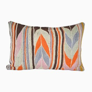 Striped Turkish Kilim Lumbar Cushion Cover