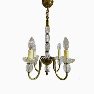 Mid-Century French Glass and Brass Chandelier