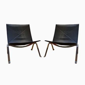 Danish Leather Model PK-22 Lounge Chairs by Poul Kjærholm for Fritz Hansen, 2016, Set of 2