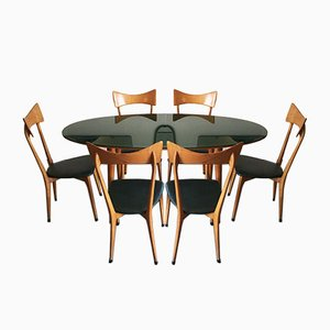 Mid-Century Dining Table & Chairs Set Attributed to Ico Parisi, Set of 7