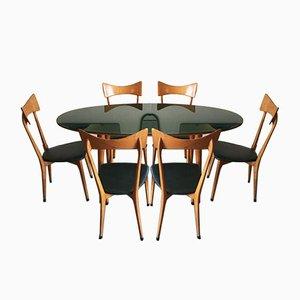Set da pranzo e tavolo Mid-Century attribuiti a Ico Parisi, set di 7