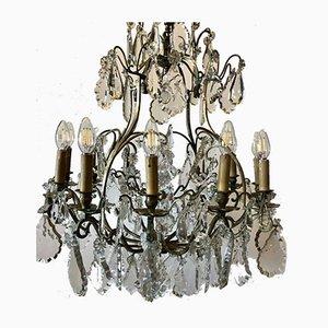 Lustre du 19ème Siècle en Bronze Doré et Cristal à 12 Lampes