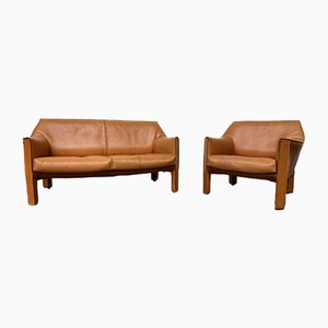 Vintage Italian 415 CAB Living Room Set in Cognac Leather by Mario Bellini, 1987, Set of 2