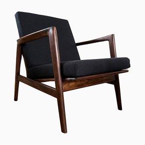 Mid-Century Black Armchair from Swarzędzkie Fabryki Mebli, 1960s