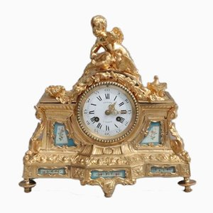 French Napoleon III Bronze Gilt Mantel Clock, 1860s