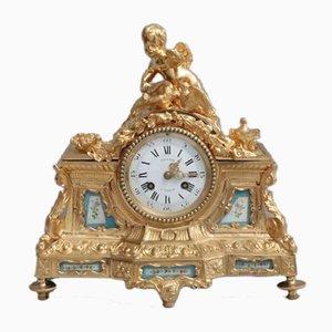 French Napoleon III Bronze Gilt Mantel Clock, 1860s