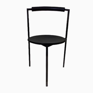 Postmodern Italian Black Tripod Dining Chairs by Maurizio Peregalli, 1980s, Set of 2