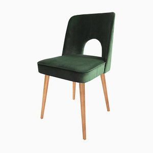 Green Velvet Shell Dining Chairs by Lesniewski for Slupskie Fabryki Mebli, 1960s, Set of 4