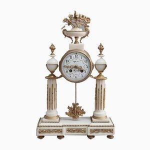 Französische Marmor Kaminsims Uhr im Louis XVI Stil, 1880er