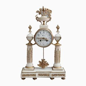 French Louis XVI Style White Marble Mantel Clock, 1880s