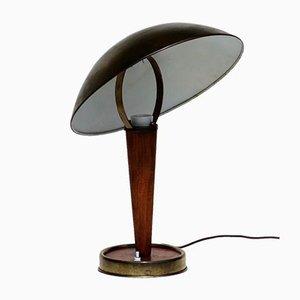 Lámpara de mesa italiana Mid-Century de madera y latón de Stilnovo, años 50