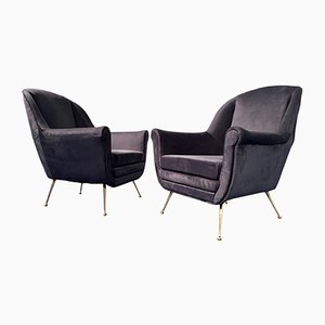 Mid-Century Italian Midnight Blue Velvet Lounge Chairs in the Style of Gio Ponti, 1950s, Set of 2
