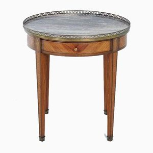 19th Century French Inlaid Gueridon with Marble Top