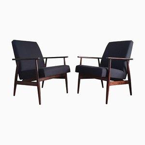 Dunkelblaue Mid-Century Sessel aus Leinen von Henryk Lis, 1960er, 2er Set