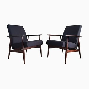Mid-Century Dark Blue Linen Armchairs by Henryk Lis, 1960s, Set of 2