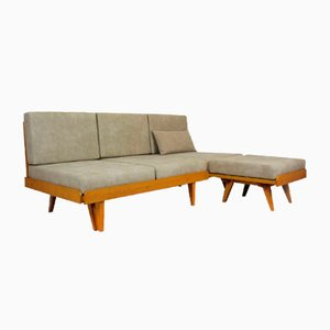 Mid-Century Corner Sofa Bed and Pouf Set, 1960s