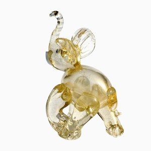 Vintage Gold Murano Glass Elephant by Ercole Barovier, 1930s