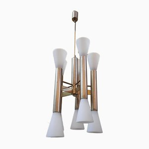 Plafonnier à 10 Luminaires en Chrome par Goffredo Reggiani pour Reggiani, 1960s