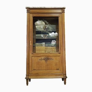 Antique Louis XVI French Display Cabinet with Marble Top and Glass Shelves