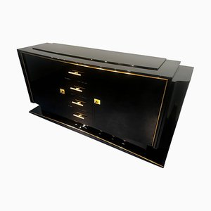 Art Deco French Black Lacquered Sideboard, 1940s
