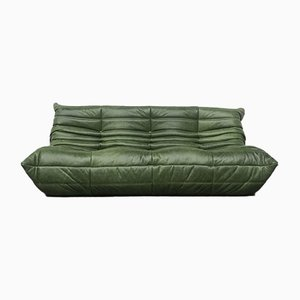 Vintage 3-Seat Togo Sofa in Forest Green Leather by Michel Ducaroy for Ligne Roset, 1980s