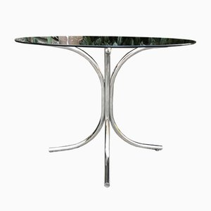 French Round Smoked Glass Dining Table, 1970s