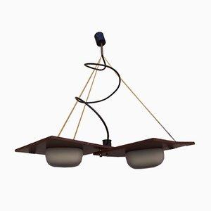 Messing & Holz Deckenlampe von Reggiani, 1960er