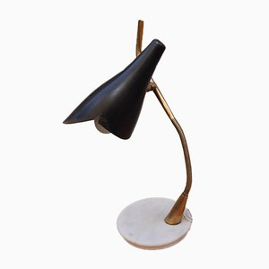 Brass and Black Marble Table Lamp from Lumen Milano, 1950s