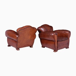 Art Deco French Leather Club Chairs, 1920s, Set of 2