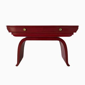 Art Deco Italian Red Lacquered and Brass Console Table, 1930s