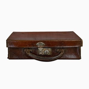 Antique Edwardian English Leather Suitcase, 1910s
