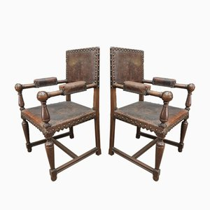 Antique Walnut and Studded Leather Lounge Chairs, 1900s, Set of 2