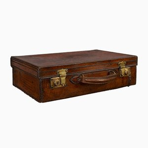 Antique Edwardian English Leather Bankers Suitcase, 1910s