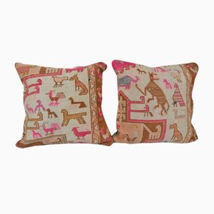Fodere per cuscino Soumac con animali, Turchia, set di 2