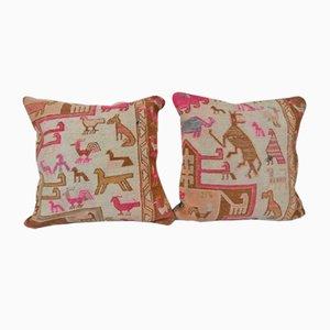 Turkish Animal Soumac Cushion Covers, Set of 2
