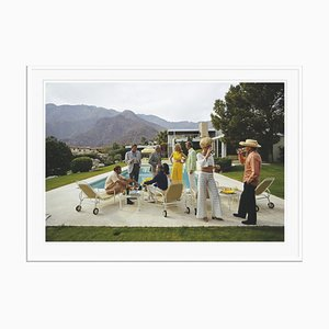 Desert House Party Oversize C Print Framed in White by Slim Aarons