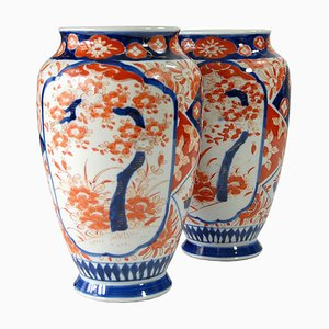 Antique Japanese Hand Painted Imari Vases, 1920s, Set of 2