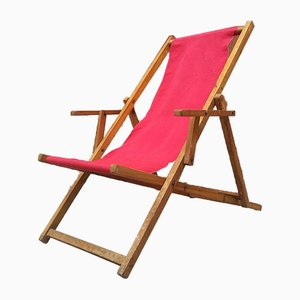Mid-Century Italian Wood and Fabric Deck Chair, 1950s