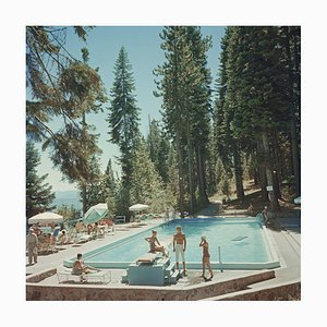 Lake Tahoe Pool Oversize C Print Framed in White by Slim Aarons