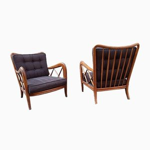 Wood and Fabric Lounge Chairs in the Style of Paolo Buffa, 1950s, Set of 2